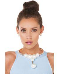 AKIRA | Natural Pearl Choker Cream Gold Necklace | Lyst
