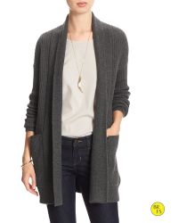 Banana Republic | Gray Factory Ribbed Open-front Cardigan | Lyst