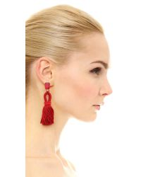 Oscar de la Renta - Red Short Tassel Clip On Earrings - Lyst