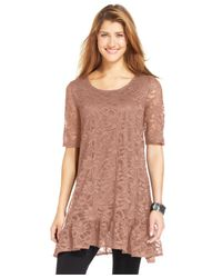 Style & Co. | Pink Short-sleeve Lace Tunic | Lyst
