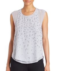 Rebecca Taylor - Gray Layered Silk Firefly Top - Lyst