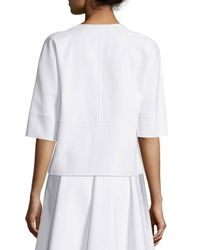 Michael Kors White Cookie Half-Sleeved Jacket