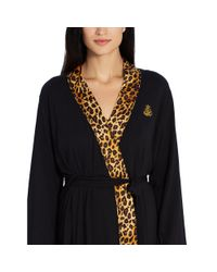 Ralph Lauren - Black Satin-trim Shawl-collar Robe - Lyst