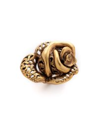Oscar de la Renta Metallic Carved Rose Ring