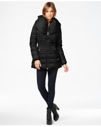 Laundry by Shelli Segal Black Pillow-collar Smocked Down Puffer Coat