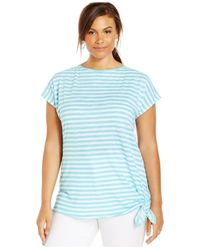Michael Kors | Blue Michael Plus Size Short-Sleeve Striped Top | Lyst
