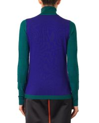 ROKSANDA Green Frennies Colour-Block Roll-Neck Sweater