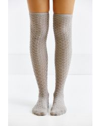 Urban Outfitters Gray Honeycomb Over-the-knee Sock