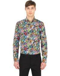 Eton of Sweden Brown Slim Printed Cotton Button Down Shirt for men
