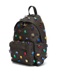 Moschino Brown Embellished Monogram Backpack for men
