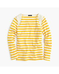 J.Crew | Orange Striped Suede-shoulder T-shirt | Lyst