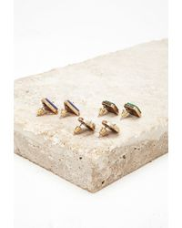 Forever 21 - Green Faux Stone Stud Set - Lyst