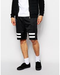 Criminal Damage - Black Shorts In Mesh With Stripes Print for Men - Lyst