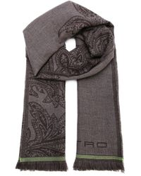 Etro | Brown Paisley-Print Wool Scarf for Men | Lyst