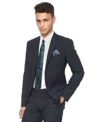 KENZO Blue Slim Fit Checked Wool Suit for men
