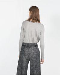 Zara | Gray Top With Side Stripe | Lyst
