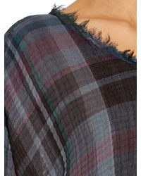 Raquel Allegra - Blue Checked Cotton-gauze T-shirt - Lyst