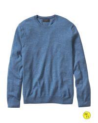 Banana Republic | Blue Factory Merino Crew-neck Pullover for Men | Lyst