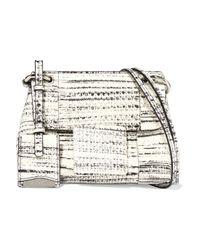 Jil Sander White Printed Elaphe Shoulder Bag