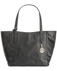 Tommy Hilfiger | Black Claire Big Pebble Small Tote | Lyst