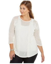 Lucky Brand | White Lucky Brand Plus Size Mixed-lace Blouse | Lyst