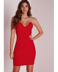 Missguided | Scuba Bandeau Bodycon Dress Red | Lyst