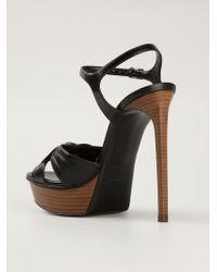 Saint Laurent - Black 'bianca' Sandals - Lyst