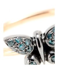 Roberto Marroni | Metallic 18kt Gold Butterfly Ring With Blue Diamonds | Lyst
