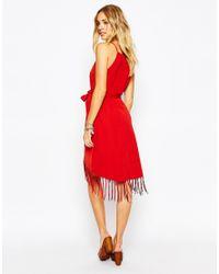 Glamorous - Wrap Cami Dress With Fringe Skirt - Black - Lyst