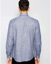ASOS | Shirt In Blue Marl With Long Sleeves for Men | Lyst