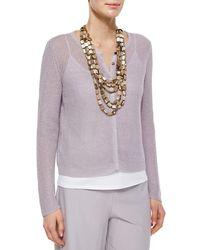 Eileen Fisher - Metallic Organic Linen Snap-front Jacket - Lyst