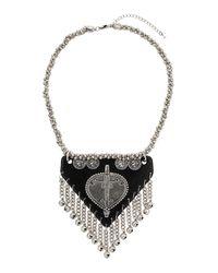 TOPSHOP - Black Triangle Plaque Necklace - Lyst