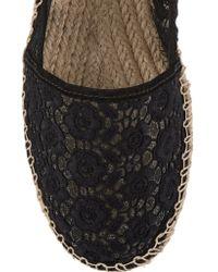 Schutz Black Floral-embroidered Mesh Espadrilles