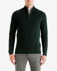 Ted Baker | Green Ribbed Funnel Neck Sweater for Men | Lyst