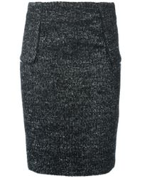 MICHAEL Michael Kors - Black Tweed Pencil Skirt - Lyst