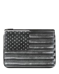Givenchy Gray American Flag Printed Nylon Zipped Pouch for men
