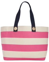 Tommy Hilfiger - Natural Grommets Woven Rugby Stripe Tote - Lyst