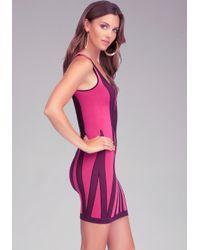 Bebe Pink Vertical Stripe Bodycon Tank Dress