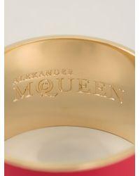 Alexander McQueen Metallic Enamel Logo Cuff
