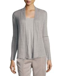Eileen Fisher | Metallic Ribbed Delave Linen Cardigan | Lyst