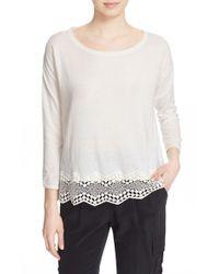 Joie | White 'jenka' Lace Back Pullover | Lyst