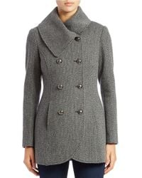 Jessica Simpson | Gray Double-breasted Wool-blend Coat | Lyst
