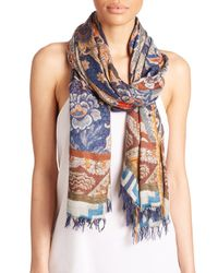 Etro | Blue Wallpaper Modal and Cashmere Scarf | Lyst