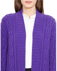 Lauren by Ralph Lauren Purple Cable-knit Open-front Cardigan