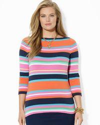 Ralph Lauren | Multicolor Plus Stripe Boat Neck Top | Lyst