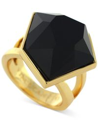 Vince Camuto | Metallic Gold-Tone Black Stone Cocktail Ring | Lyst