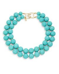 Kenneth Jay Lane - Blue Carved Bead Two-row Necklace - Lyst