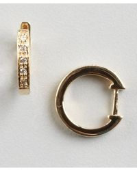 KC Designs - Diamond And Yellow Gold Mini Huggie Earrings - Lyst