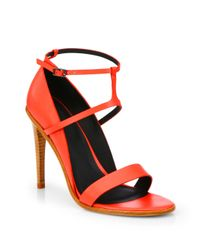Tibi | Red Anouk Leather Highheel Sandals | Lyst