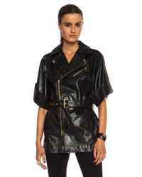RED Valentino Black Belted Leather Jacket